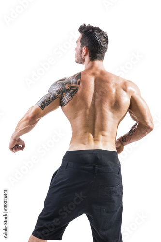 9f15d860bb217 Back of handsome shirtless muscular man with jeans, standing ...