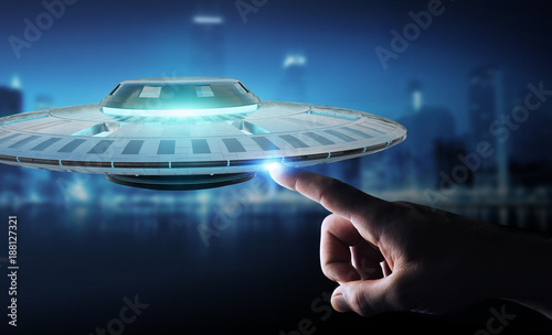 Photo sur Toile UFO Businessman with retro UFO spaceship 3D rendering