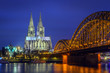 Cathedral of Cologne Hohenzollern Bridge at blue hour