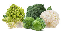 Fresh Vegetables Cauliflower, Romanesco, Broccoli, Brussels, Cabbage Isolated On White Background With Clipping Path