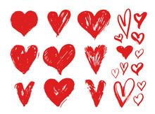 Set Of Red Grunge Hearts. Design Elements For Valentine's Day. Vector Illustration Heart Shapes. Isolated On White Background