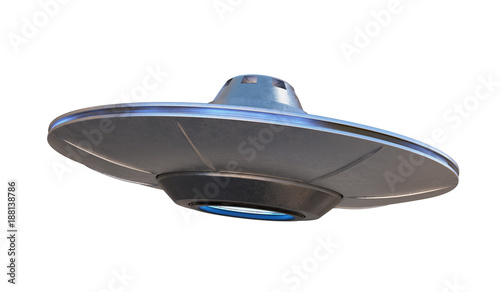 UFO - alien spaceship isolated on white background Canvas Print