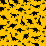 Fototapeta Dinusie - Cute kids dinosaurs pattern for girls and boys. Colorful dinosaurs on the abstract grunge background.. The dinosaurs pattern is made in neon colors. Urban pattern. backdrop for textile and fabric.