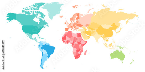 Fotobehang Wereldkaart Colorful political map of World divided into six continents. Blank vector map in rainbow spectrum colors.