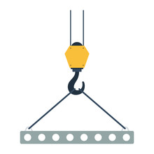 Icon Of Slab Hanged On Crane Hook By Rope Slings