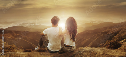 Tuinposter Artist KB Young, relaxed couple watching a sunset