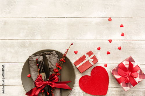 Table Setting With Gift Box Valentines Day Card Mother S Day