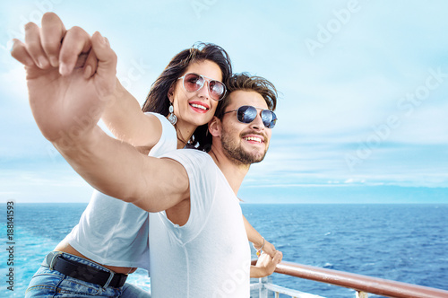 Poster Artist KB Romantic couple relaxing on the ferry