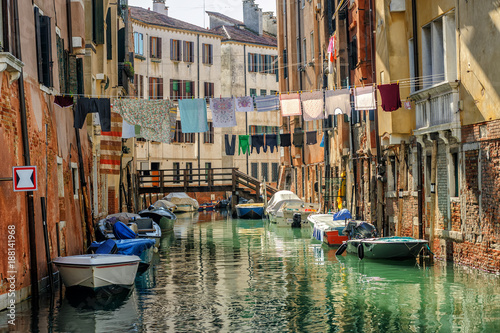 Venice, Italy, washes hanging over canal © Boris Stroujko