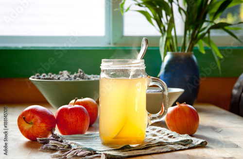 Fotografie, Obraz  Hot apple cider vinegar and honey drink