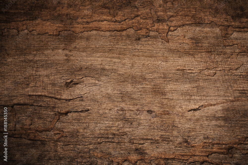 Fototapeta Wood decay with wood termites , Old grunge dark textured wooden background , The surface of the old brown wood texture