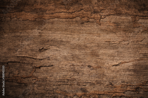 Fényképezés  Wood decay with wood termites,Old grunge dark textured wooden background,The sur