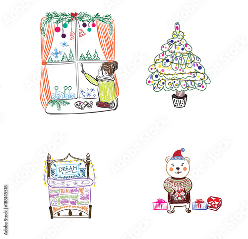 Fotografering  winter themes, vector illustration, sketch style