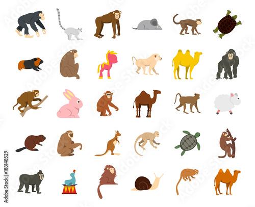 Animals icon set, flat style Wallpaper Mural