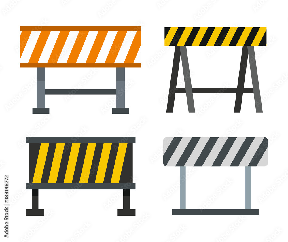 Fototapeta Road barrier icon set, flat style