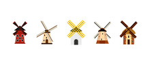 Wind Mill Icon Set, Flat Style