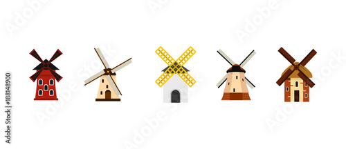 Obraz Wind mill icon set, flat style - fototapety do salonu