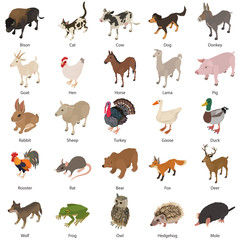 Animals collection icons set, isometric style