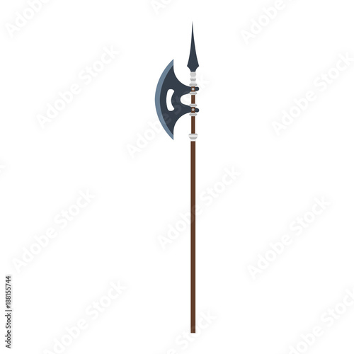 Vector poleaxe weapon medieval illustration icon isolated