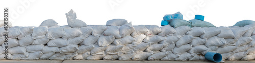 Fotografie, Obraz  Sand bags stacked isolated on white background, clipping path