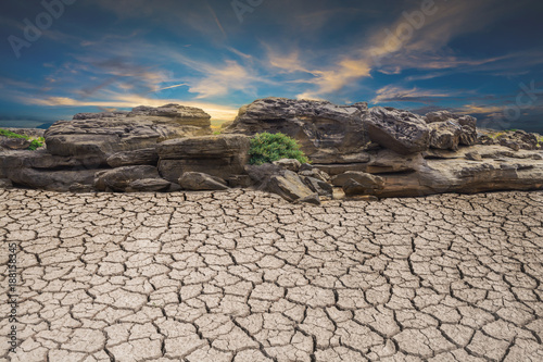 Staande foto Bleke violet ground soil desert broken drought stone, landscape cloud and blue sky