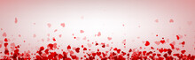 Love Valentine's Banner With Red Hearts.
