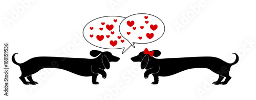 Photo long dachshund wiener dogs vector in black silhouette design with red hearts in