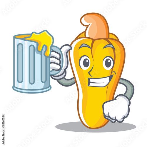 Fotografija  With juice cashew mascot cartoon style