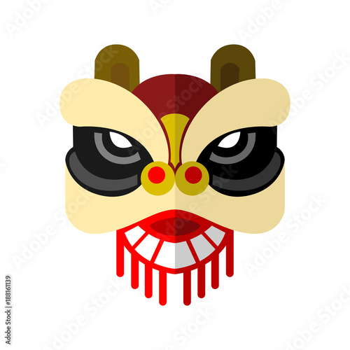 Fotografie, Tablou  Lion Dance Head Chinese Vector Illustration Graphic