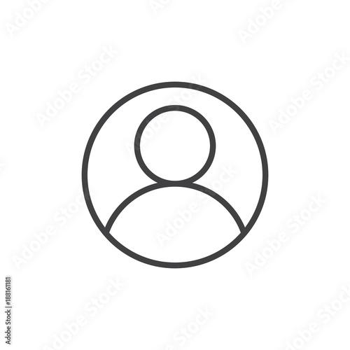 Fototapeta User account avatar line icon, outline vector sign, linear style pictogram isolated on white. Admin profile symbol, logo illustration. Editable stroke obraz