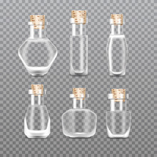 Realistic Empty Chemistry Glass Bottles Of Potion Set. Love Potion. Vector Illustration.