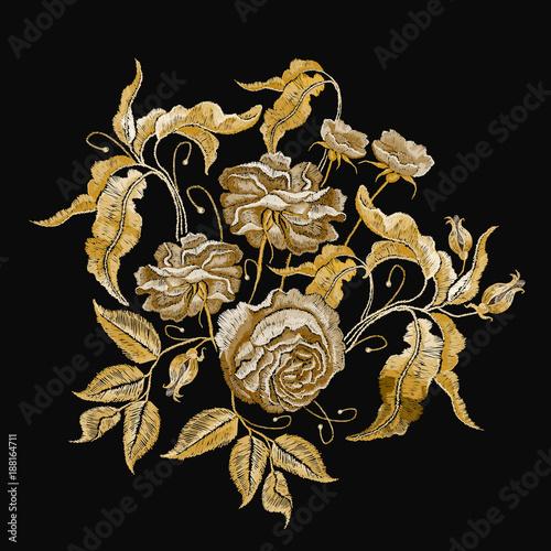 Golden roses embroidery Billede på lærred
