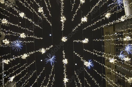 Photo  MOSCOW, RUSSIA - JANUARY 7, 2018: Moscow, Nikolskaya street, New Years lights