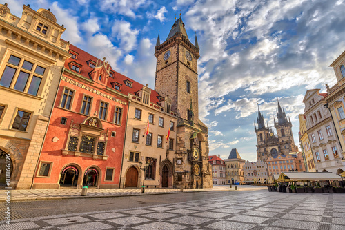 Prague sunrise city skyline at Prague old town square, Prague, Czechia