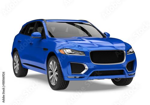 Fototapeta Blue SUV Car Isolated obraz