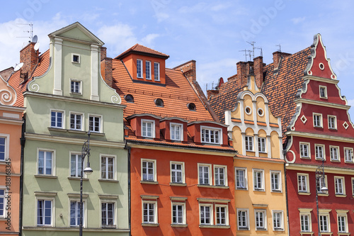 Photo Stands Main market, colorful tenement houses, Lower Silesia, Wroclaw, Poland