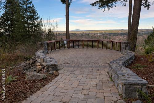 Obraz na plátne Garden Stone Brick Paver Patio View Deck