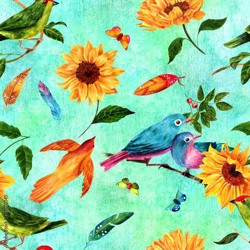 wzor-z-akwarela-ptakow-pior-sloneczniki-i-motyle