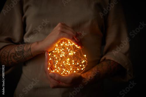 Fotografie, Obraz  Christmas lights garland in female hands