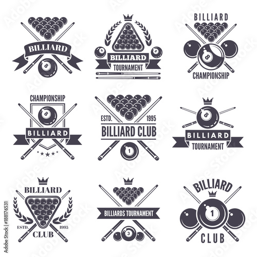 Obraz na plátně Monochrome labels or logos for billiard club