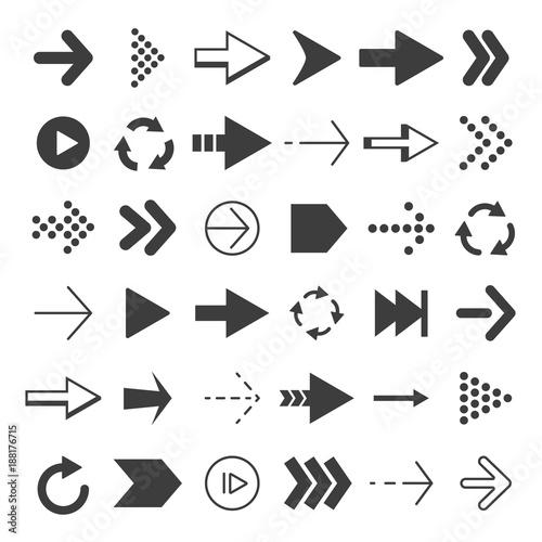 Canvas Prints Textures Black arrows set. Vector pictures isolate