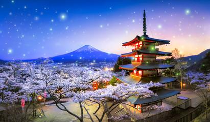 Halny Fuji z Sakura i Chureito Pagoda, Japonia