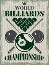 Retro Sport Poster For Billiar...