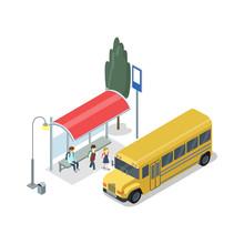 School Bus Stop Isometric 3D I...