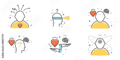 Photo Flat design set of intuition, insight, anticipation, choice