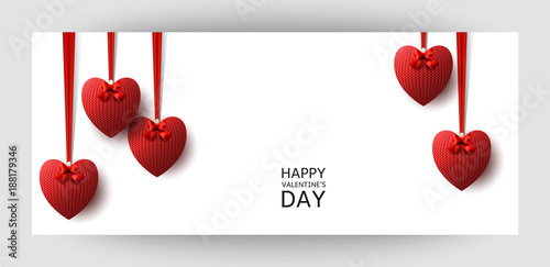 Horizontal Gift Design Background With Red Knitted Hearts For