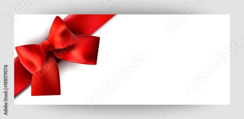 Horizontal Gift Ribbon Design Background With A Red Bow Invitation For Valentine S Day Wedding