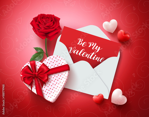 be my valentine greeting card vector design with love letter rose and gift and hearts