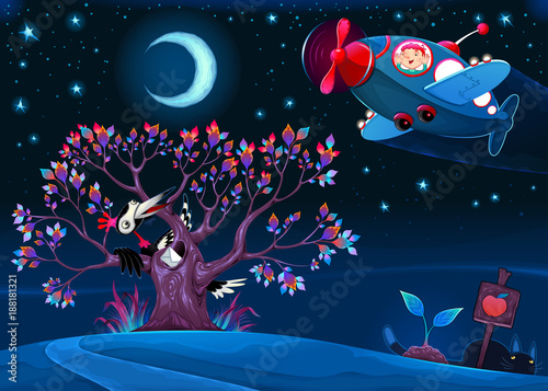 Poster Chambre d enfant The woodpecker is saying hello to the airplane in the night