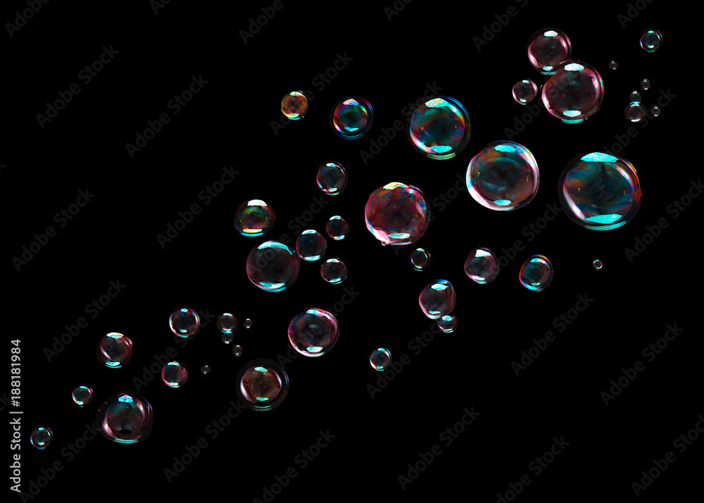 Fototapety, obrazy: Bubbles on black background